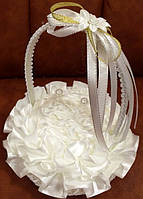 Подушечка корзинка роза под обручальные кольца  белая