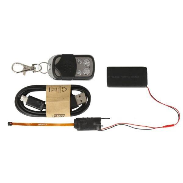 Мини камера с выносным объективом на шлейфе KONLEN S01, с записью Full HD 1080P c пультом ДУ (100429)