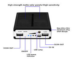 Мобильное зарядное устройство POWER BANK Solar+led 20000S (солнечная зарядка  Павер Банк Солар 20000 мАч)