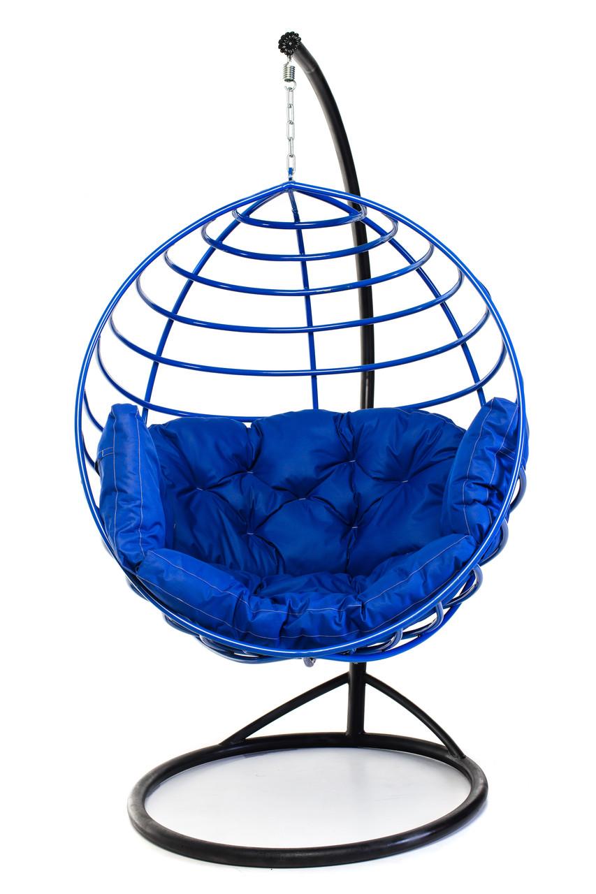Подвесное кресло кокон для дома и сада с большой подушкой до 250 кг синего цвета в синем коконе AURORA Есть