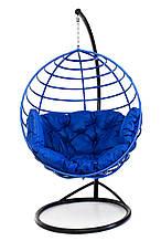Підвісне крісло кокон для дому та саду з великою подушкою до 250 кг синього кольору в синьому коконі AURORA Є