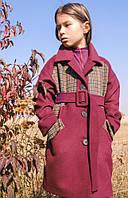 Детское пальто под пояс на весну или осень (ягодный) 110 PaMaranchi