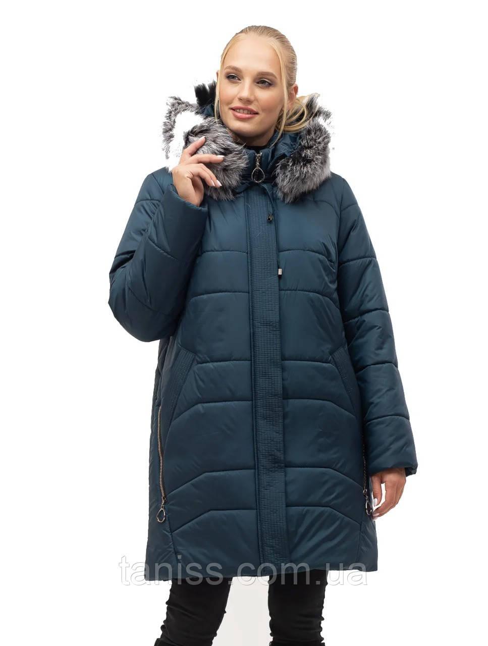 Жіночий зимовий пуховик великого розміру, знімний капюшон, р-ри з 54-70, малахіт чбк (154)