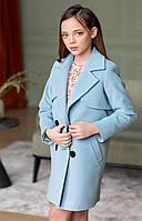 Двубортное пальто для девочки шерсть (голубой) 110 PaMaranchi