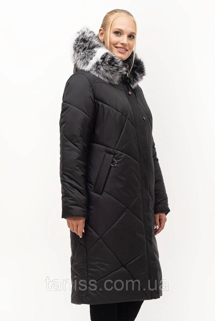 Жіночий зимовий пуховик великого розміру, знімний капюшон, р-ри з 52 по 70,чорний чбк (150)