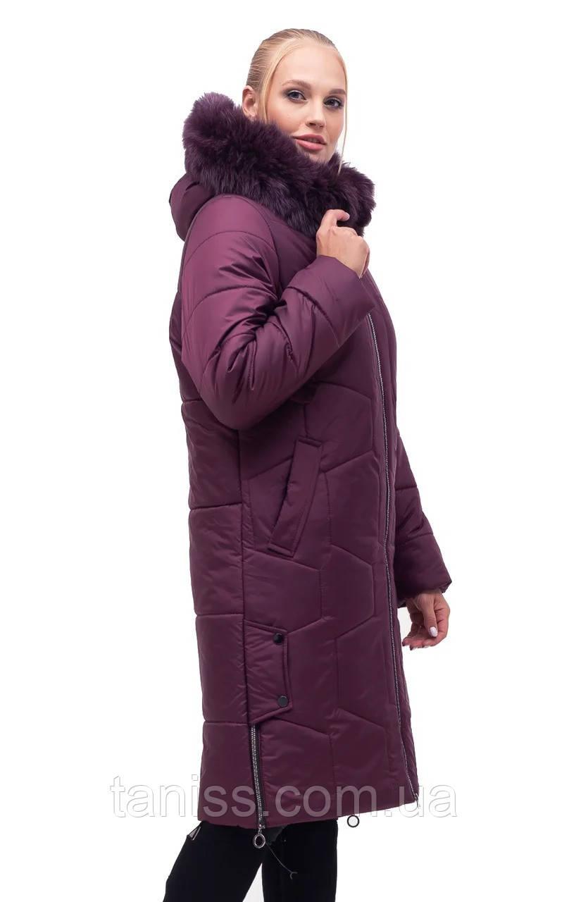 Женский зимний пуховик большого размера, капюшон вшитый, р-ры с 48 по 62,марсал песец (149)