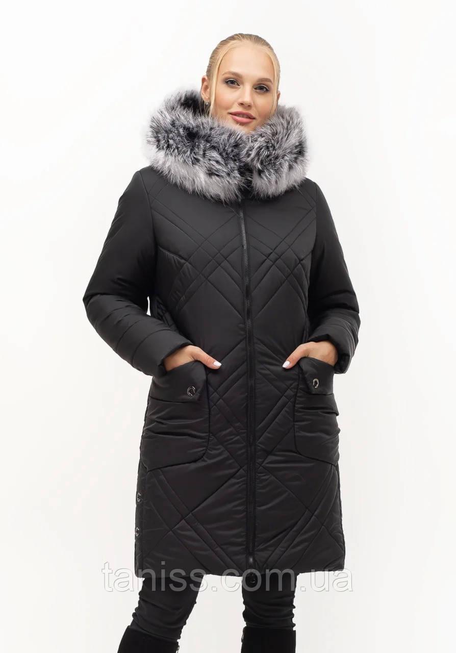 Женский зимний пуховик большого размера, капюшон вшитый, р-ры с 46-58, черный  чбк (155)