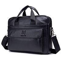 Мужской портфель из натуральной кожи Кожаный портфель мужской Сумка-портфель мужской для ноутбука Черный