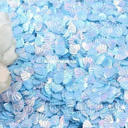 Пайетки «Ракушки» для слайма голубые, фото 2