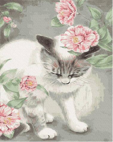 Картина по номерам GX35652 Киця в квітах 40х50см. Brushme, фото 2