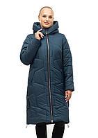 Модное стёганное зимнее женское пальто малахитового цвета батал с 48 по 62 размер