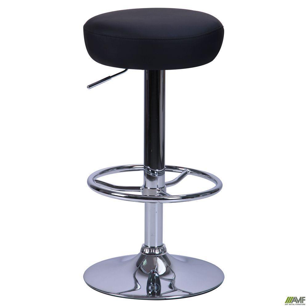 Барный стул Рондо Хокер черное мягкое сидение с подножкой Хром