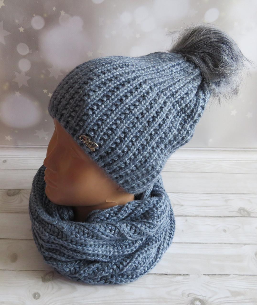 Теплый зимний комплект: шапка и снуд, серый
