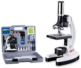 Микроскоп AmScope 120X-1200X детский с набором аксессуаров в пластиковом чемодане
