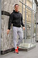 Комплект. Мужская черная спортивная кофта с капюшоном и мужские серые спортивные штаны