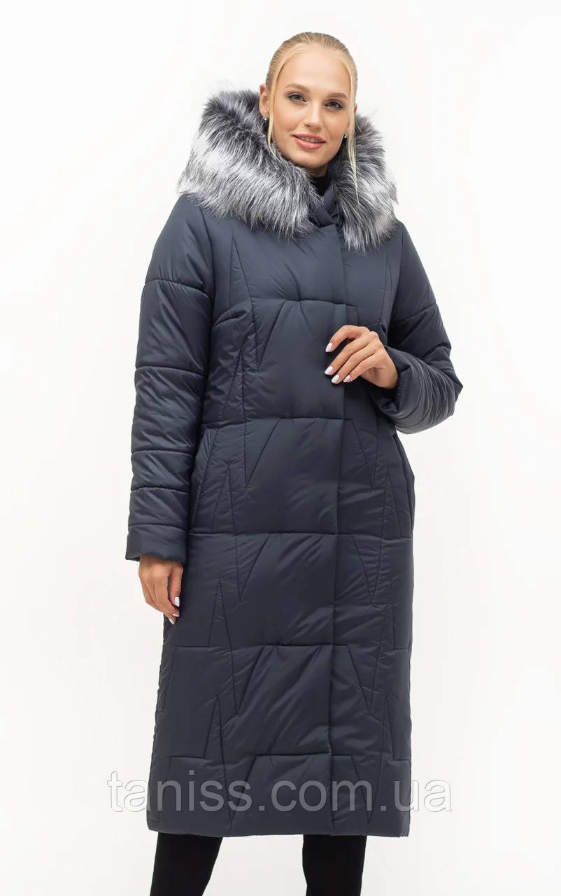Жіночий зимовий пуховик великого розміру, капюшон вшитий, р-ри з 46 по 56, синій хутро (151)