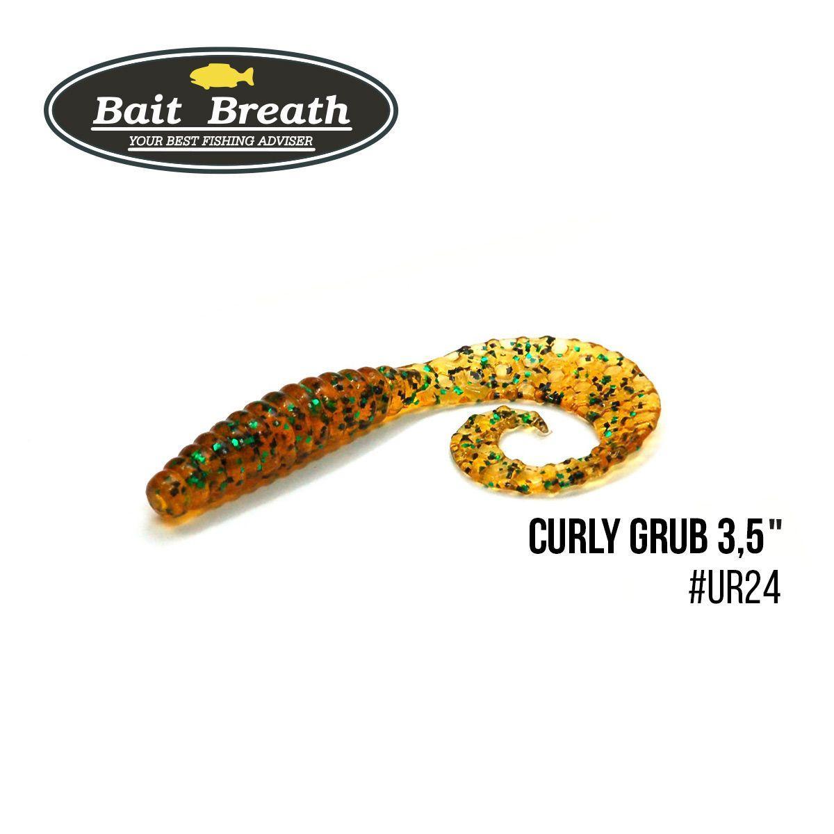 """.Приманка Bait Breath Curly Grub 3,5"" (10шт) (Ur24 Pumpkin/green*seed)"