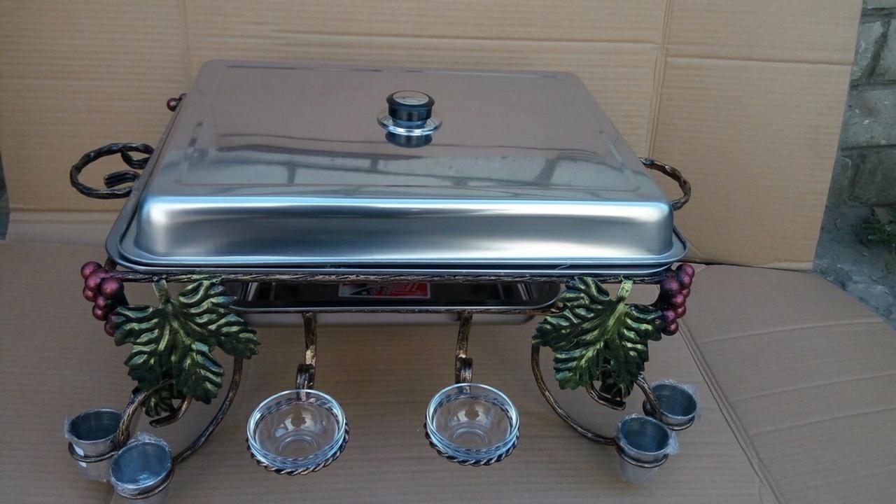 Садж кованный для подогрева шашлыка с прямоугольным блюдом+ крышка+4 соусника+8 рюмок