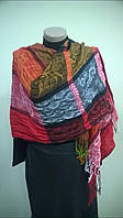 симпатичный шарф палантин  из хлопка   легкая жатка