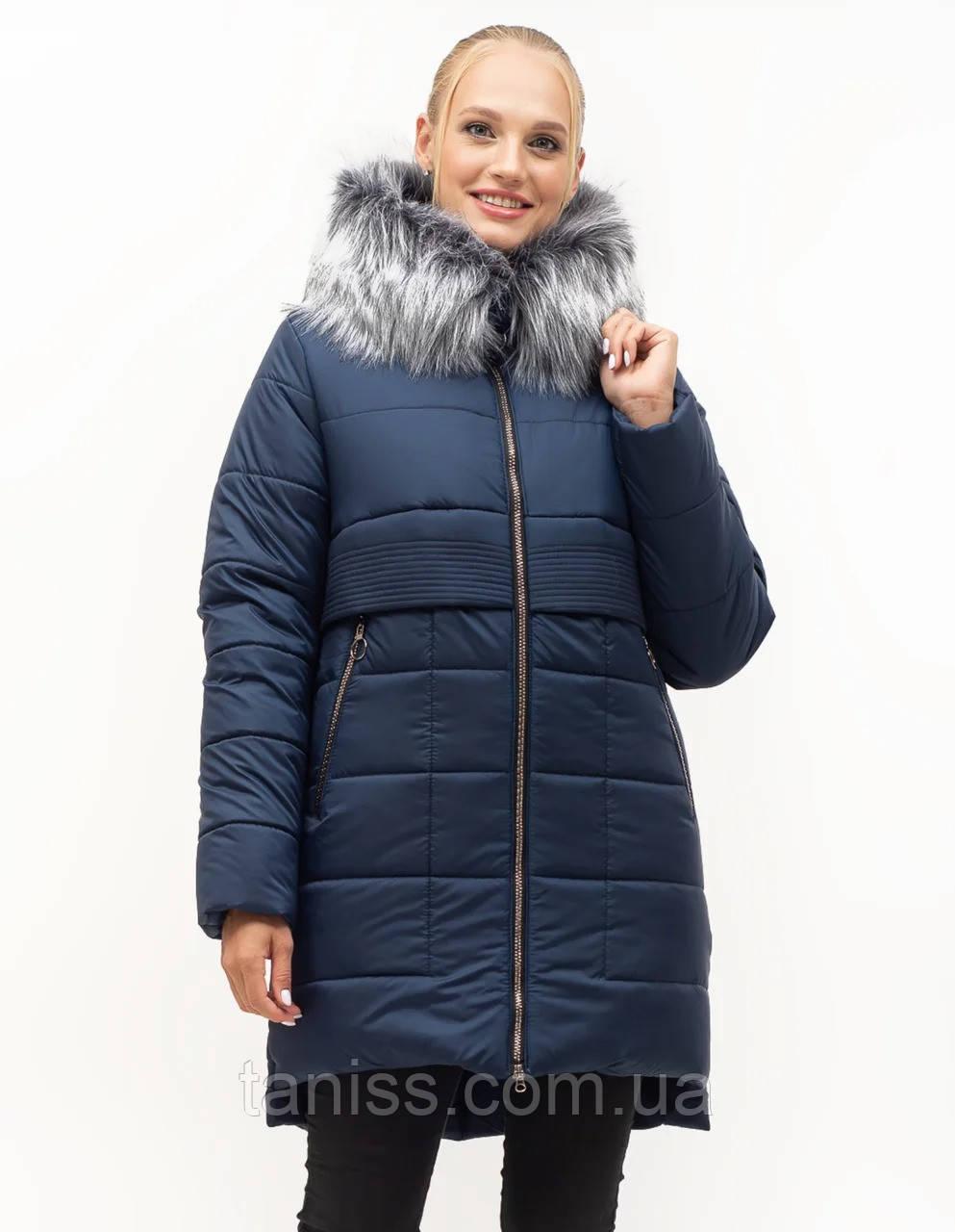 Женский зимний пуховик большого размера, капюшон вшитый, р-ры с 46 по 58, синий мех (152)