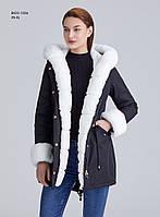 Зимняя женская черная куртка парка с меховым капюшоном