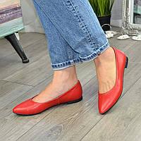 Туфли-балетки женские кожаные с заостренным носком, цвет красный. 39 размер