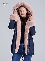 Зимняя женская синяя куртка парка на меху с капюшоном