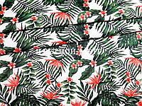 Отрез натуральной ткани польский хлопок зеленые листья и цветы на белом