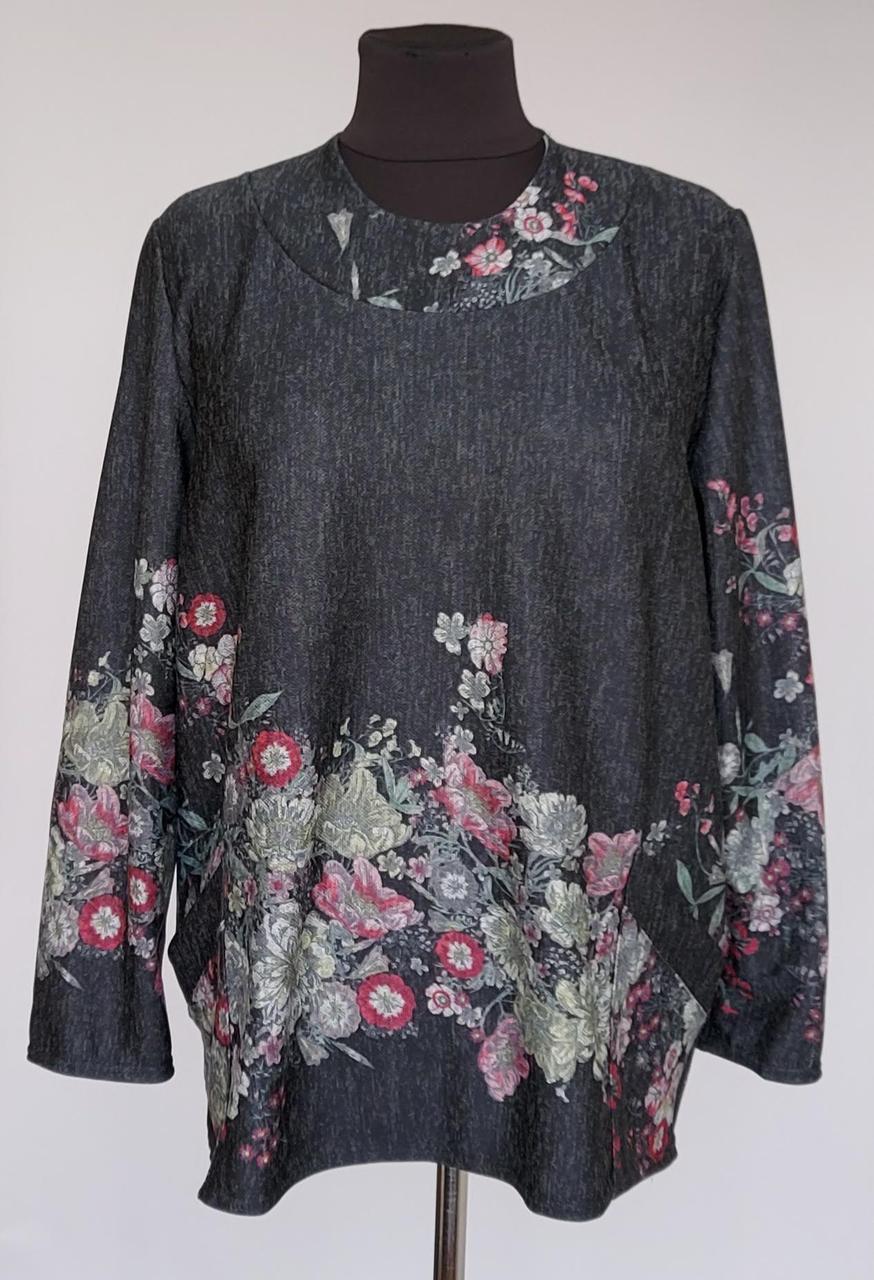 Женская кофта «Цветочный узор» темно-серого цвета (52-64 р)