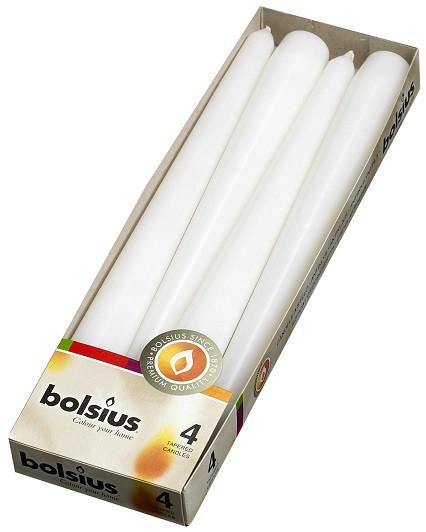 Свеча коническая белая Bolsius 24,5 см 4 шт (30-4-090Б 56017)
