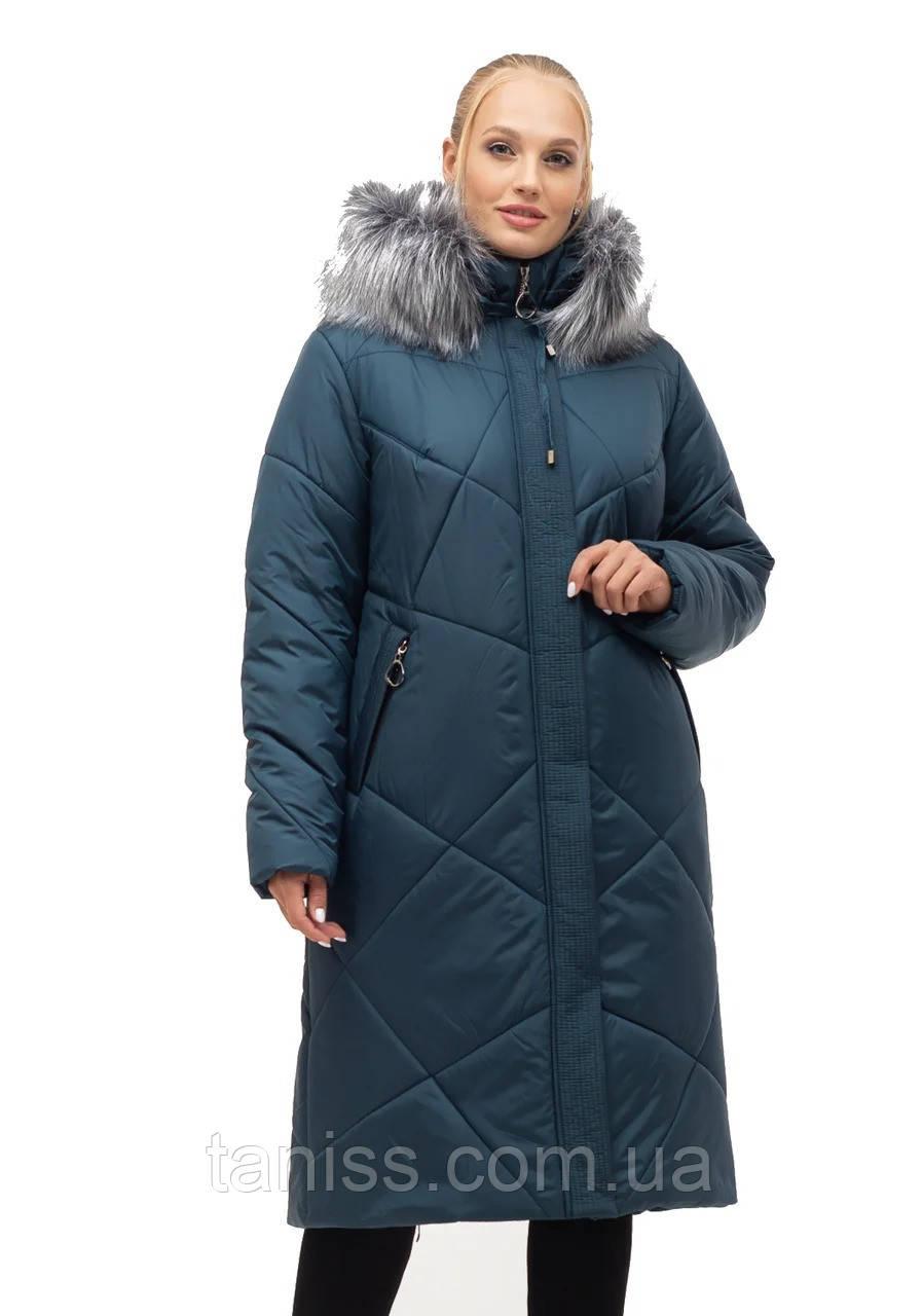 Женский зимний пуховик большого размера, капюшон съемный, р-ры с 52 по 70, малахит мех (150)