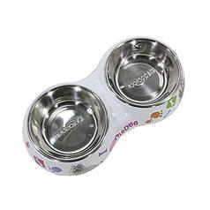 Миска для котів і собак Taotaopets WZ-1010 подвійна 26*13.5*4.5 Мікс