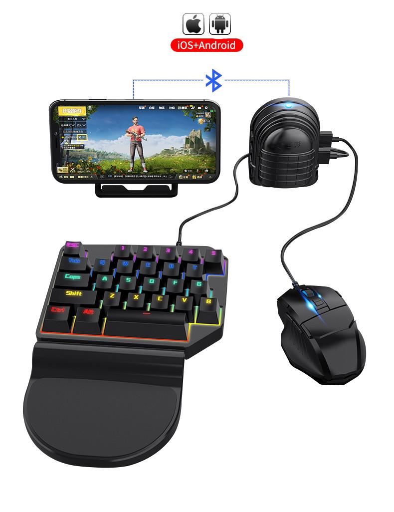 Мобильный игровой Bluetooth адаптер с аккумулятором, игровой клавиатурой и мышкой Union Sundy PUBG Mobile Mix3