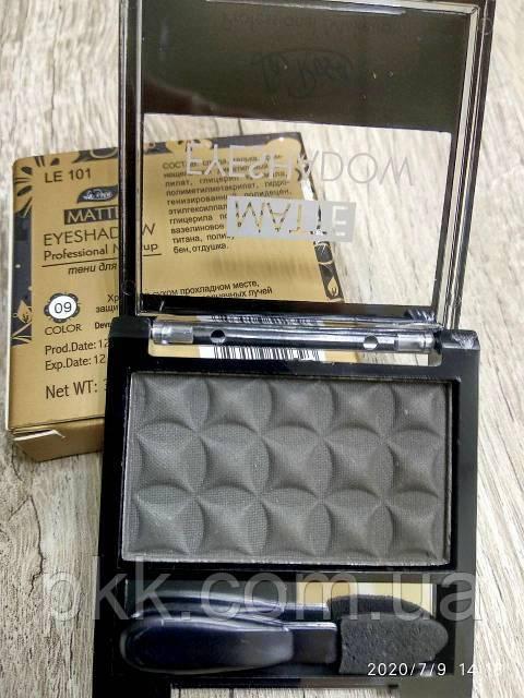 Тени для век LA ROSA MATTE Eyeshadow Professional Makeup одинарные LE-101 №09 матовые Серо-чёрный