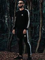 Спортивный костюм Adidas в стиле Адидас, хлопок, код DD-7. Черный c белым( XS, S, M, L, XL, XXL)