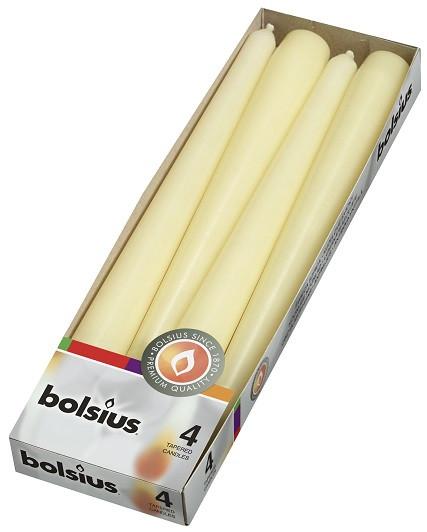 Свеча коническая кремовая Bolsius 24,5 см 4 шт (30-4-011Б KRE 56024)