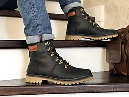Мужские ботинки Timberland зимние теплые на меху из натуральной кожи ботинки в стиле тимберленд черные