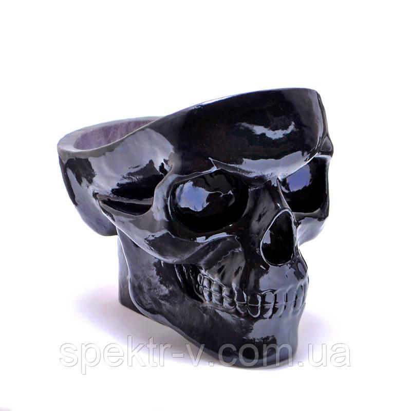 Черный череп из гипса органайзер или пепельница в виде черепа (конфетница, визитница, ключница)