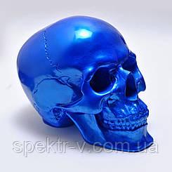 Череп декоративный синего цвета в натуральную величину. Гипсовая статуэтка для декора