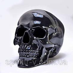 Череп человека черный в натуральную величину. Декоративный череп из гипса