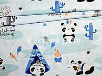 Отрез натуральной ткани польский хлопок панды с вигвамами на голубом