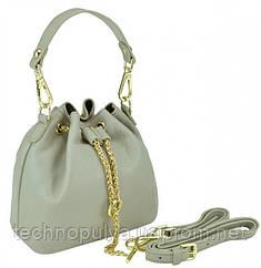 Женская кожаная сумочка-кисет серая Riche W14-2126G