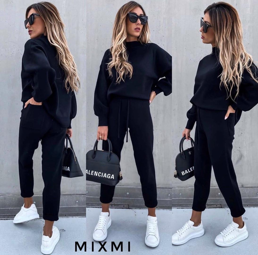 Женский спортивный костюм, плотная двухсторонняя ангора, р-р универсальный 42-46 (чёрный)
