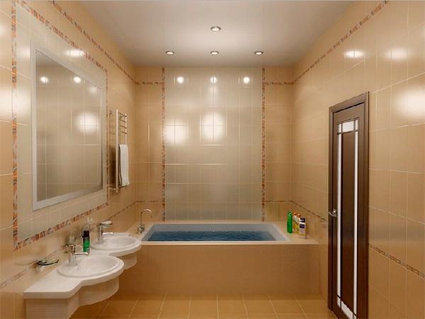 Матовый натяжной потолок в ванной, фото 1