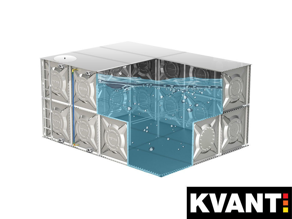 Модульная емк. для хранения жид. KVANT ALFA оцинк.ст.1,5мм (1260л) ШГВ(1080х1080х1080)