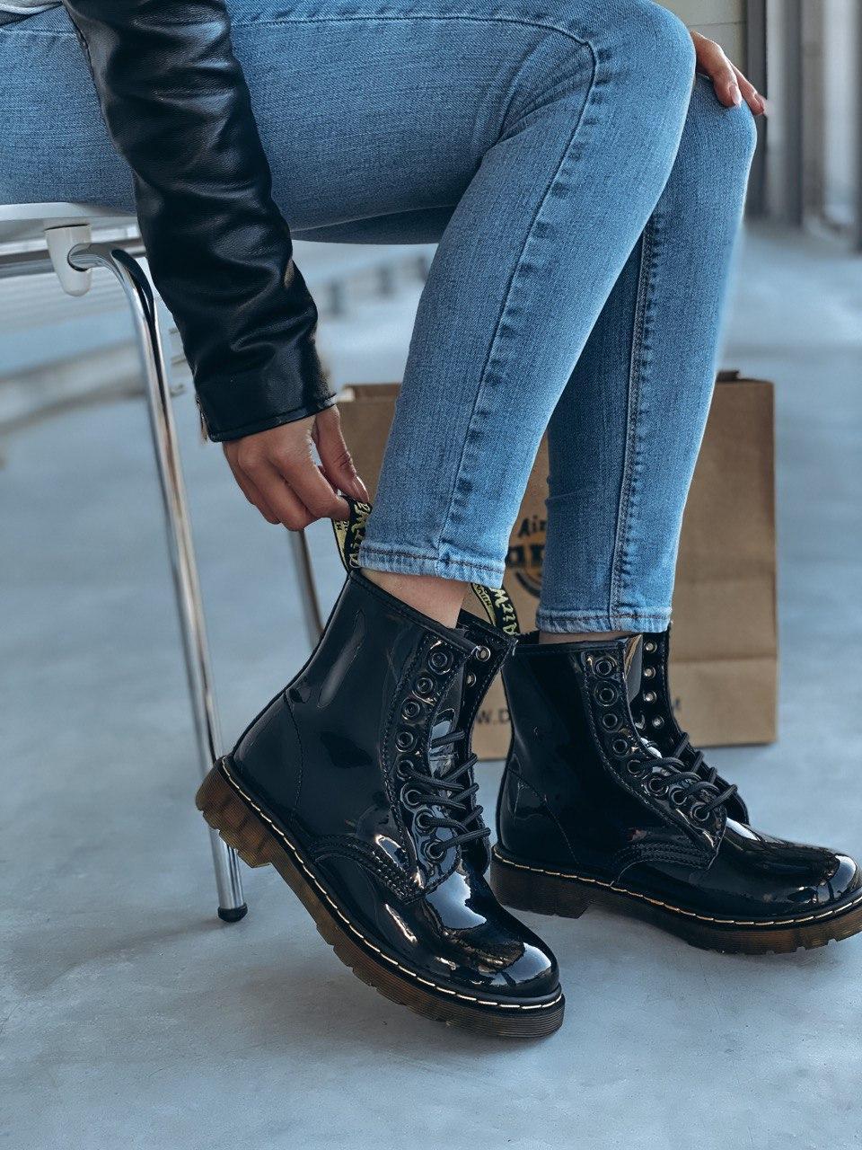 Демісезонні черевики з райдужної лакованої шкіри Dr Martens / Доктор Мартінс