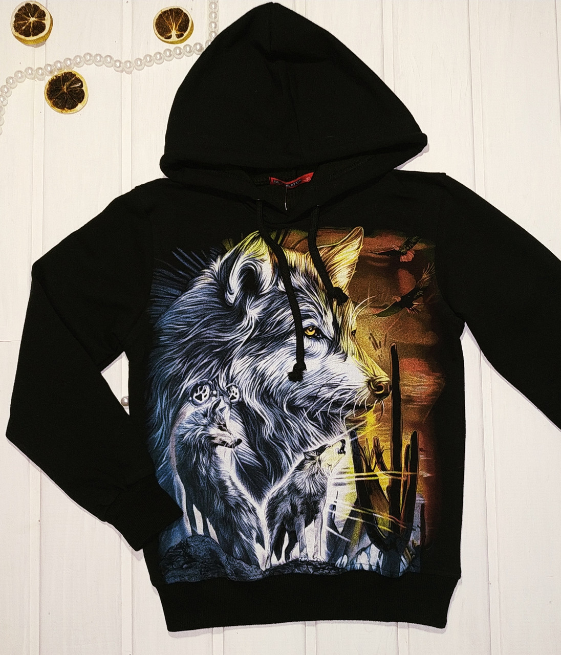 Толстовка с капюшоном для мальчика черная с принтом волка Светится в темноте  134 140 146