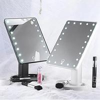 Зеркало с диодами, Зеркало с LED подсветкой прямоугольное, Настольное зеркало для макияжа, фото 1