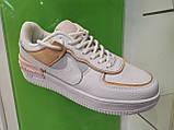 Жіночі кросівки в стилі найк Air Force 1 Low White Shadow Beige, фото 6