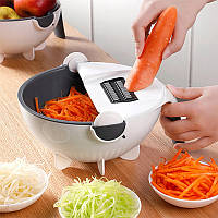 Многофункциональная овощерезка 9 в 1, бытовой измельчитель Wet basket vegetable cutter, овощерезка дуршлаг, фото 1